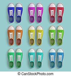 vieux, ensemble, sneakers., vendange