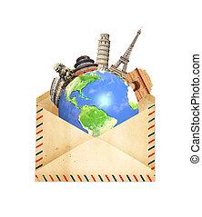 vieux, entourer, monuments, enveloppe, planète, célèbre, mondiale, la terre