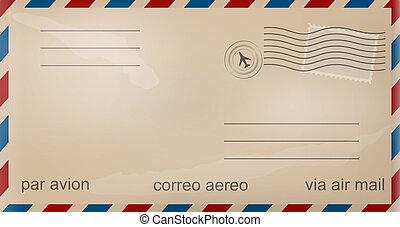 vieux, enveloppe, poste aérienne
