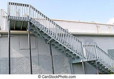vieux, escalier, gris