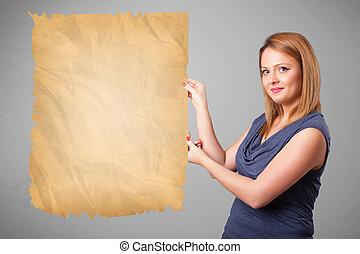 vieux, espace, jeune, papier, présentation, girl, copie