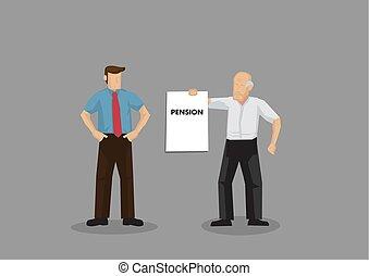 vieux, exiger, vecteur, illustration, homme, dessin animé, pension