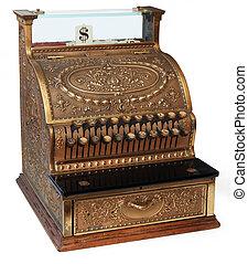 vieux façonné, caisse enregistreuse, isomorphic, vue