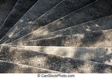 vieux, fait, escalier spirale, béton