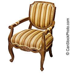 vieux, fauteuil bois, isolé, fond, blanc