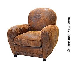 Fauteuil cuir vieux Fauteuil cuir blanc vieux isolé photo de