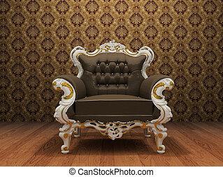 vieux, fauteuil cuir, papier peint, ornement, luxueux, appelé, intérieur