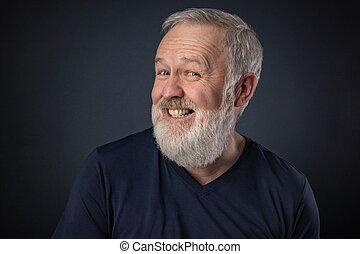 vieux, feindre, rire, homme