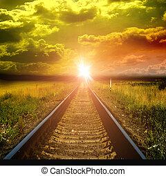 vieux, ferroviaire, à, coucher soleil