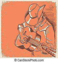 vieux, festival, pays, musicien, texture, guitare, américain, musique, jouer