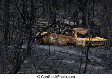 vieux, feux, brûlé, voiture, dehors, abandonnés, pendant,...