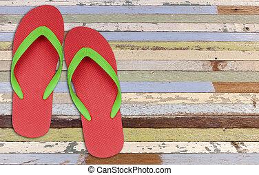 vieux, fiasco, chiquenaude, bois, vert, sandales, peinture, rouges