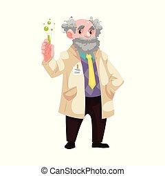 vieux, flacon, scientifique, vecteur, dessin animé, chimiste