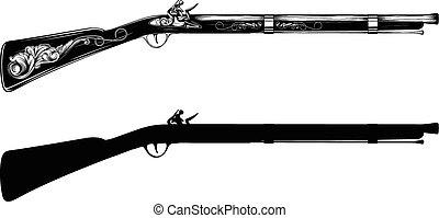 vieux, flintlock, fusil