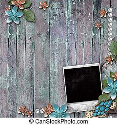 vieux, fond, bois, perles, dentelle, fleurs, cadre, photo