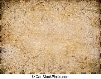 vieux, fond, carte nautique