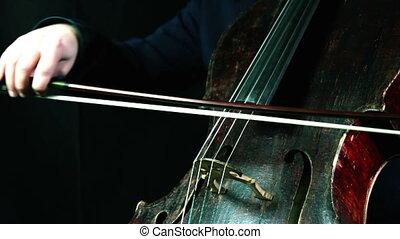 vieux, fond, closeup, violoncelle, noir, jouer