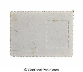 vieux, fond, isolé, carte postale, blanc