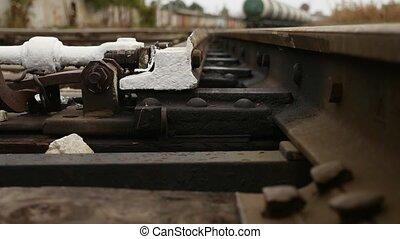 vieux, fond, rails, chemin fer, mouvement, vue
