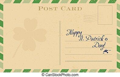 vieux, frame., carte postale, rue., salutation, patrick's, trèfle, vecteur, vert, template., carte