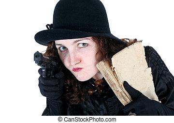 vieux, fusil, isolé, livre, girl, chapeau, blanc