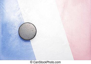 vieux, galet hockey, est, sur, les, glace, à, drapeau...