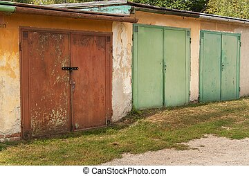 vieux, garage., cars., endroit, stationnement, brique