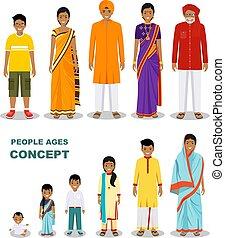 vieux gens, âges, style., différent, isolé, indien, blanc, est, bébé, plat, femme, aging., adolescent, fond, adulte, enfant, homme, illustration., gens., jeune, vecteur, générations