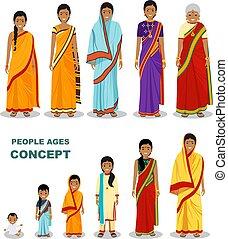vieux gens, âges, style., différent, isolé, indien, blanc, est, bébé, plat, femme, aging:, adolescent, fond, adulte, enfant, illustration., gens., jeune, vecteur, générations