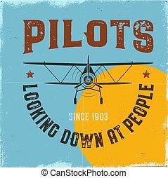 vieux gens, bas, hélice, poster., avion, stamp., design., vendange, regarder, retro, écusson, quote., icône, avion, étiquette, aviation, carte, mouche, graphique, emblem., vecteur, biplan, pilotes