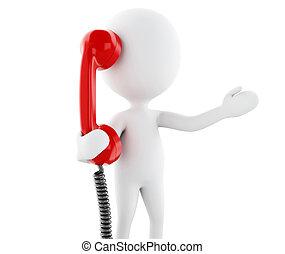 vieux gens, téléphone., blanc rouge, 3d