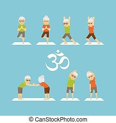 vieux gens, yoga, icônes