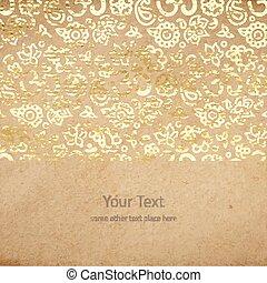 vieux, goldenfoil, vendange, texture, mandalas, papier