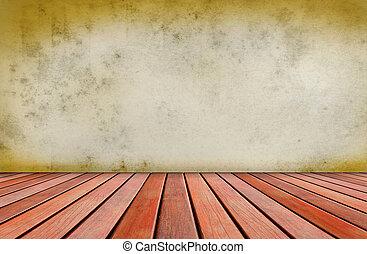 vieux, gr, mur, ciment, bois, terrasse