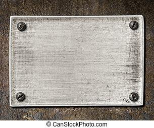 vieux, gratté, acier, plaque, texture, à, vis, sur, métal...
