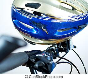 vieux, gratté, casque sûreté, sur, les, vélo