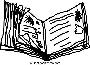 vieux, griffonnage, -, isolé, illustration, main, vecteur, fond, blanc, livre, dessiné