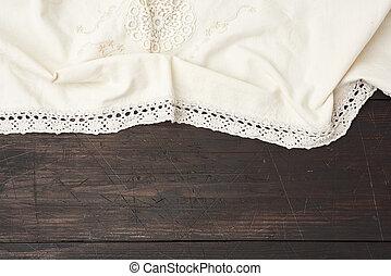 vieux, gris, conseils, bois, serviette, table, textile, cuisine, plié