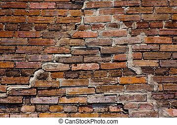 vieux, grunge, mur brique