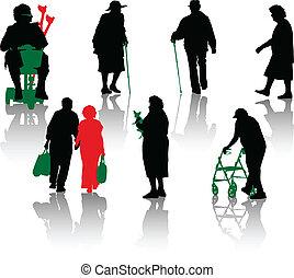 vieux, handicapé, silhouette