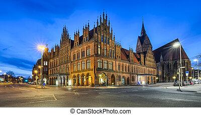vieux, hannover, ville, allemagne, salle
