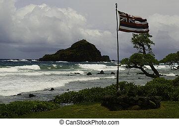 vieux, hawaii signalent, sur, orageux, jour