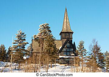 vieux, holmenkollen, chapelle, sur, ensoleillé, hiver, jour, oslo, norvège