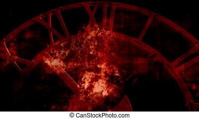 vieux, horloge, faire boucle, arrière-plan noir, grunge, rouges