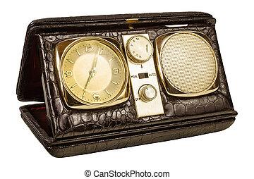 vieux, horloge, image, isolé, radio, retro, appelé, blanc, voyage