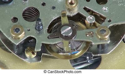vieux, horloge, métal, engrenages, roues, analogue