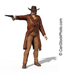 vieux, hors-la-loi, ouest, manieur pistolet