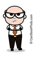 vieux, humeur, bureau, fâché, -, illustration, patron, attente, vecteur, retro, dessin animé, homme