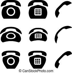 vieux, icônes, téléphone, vecteur, noir, récepteur