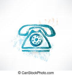 vieux, icon., grunge, téléphone